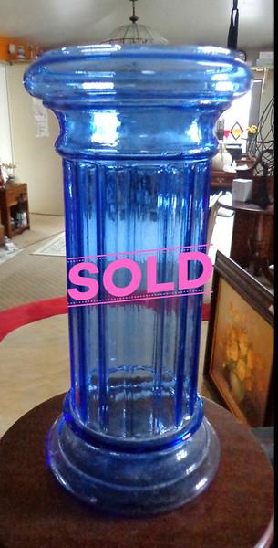 Mid Century Italian Footed Glass Vase Azure Blue Optic Diamond.  8 x 15 1/2.  <b>$60</b>