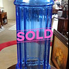 Mid Century Italian Footed Glass Vase Azure Blue Optic Diamond.  8 x 15 1/2.  <b>$60</b>