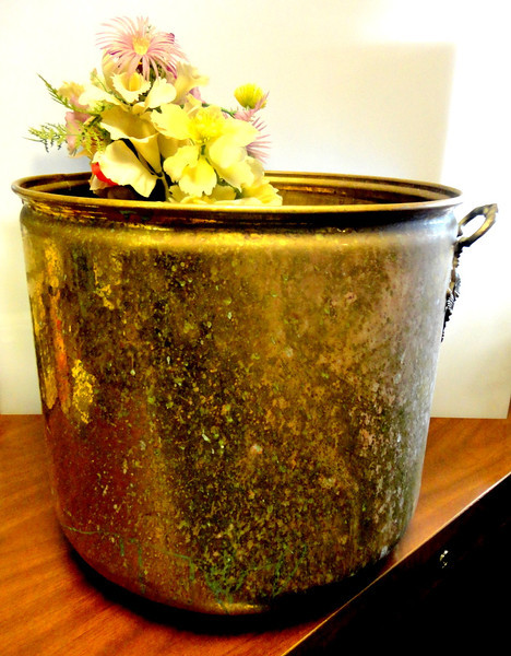 Solid Brass Plant Stand.  Just use a little brass polish and you're all set.  17 x 13.  <b>$60</b>
