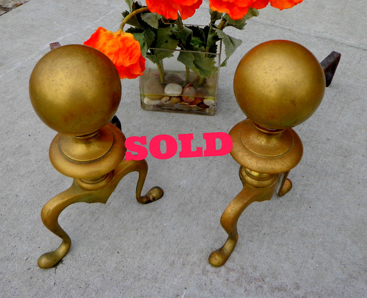 Set of 2 Brass Fireplace Dogs.  <b>$95</b>