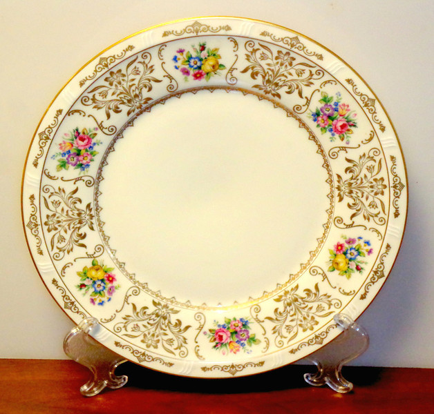 """H & C Haas/Czjzek CORONADO Dinner Plate, Floral Border & Pattern.   Made in Czechoslovakia.  We have a limited inventory of these very rare, hard-to-find, dinner plates.  10 3/4"""" across, excellent condition, no chips or cracks. <b>$30 each.</b>"""