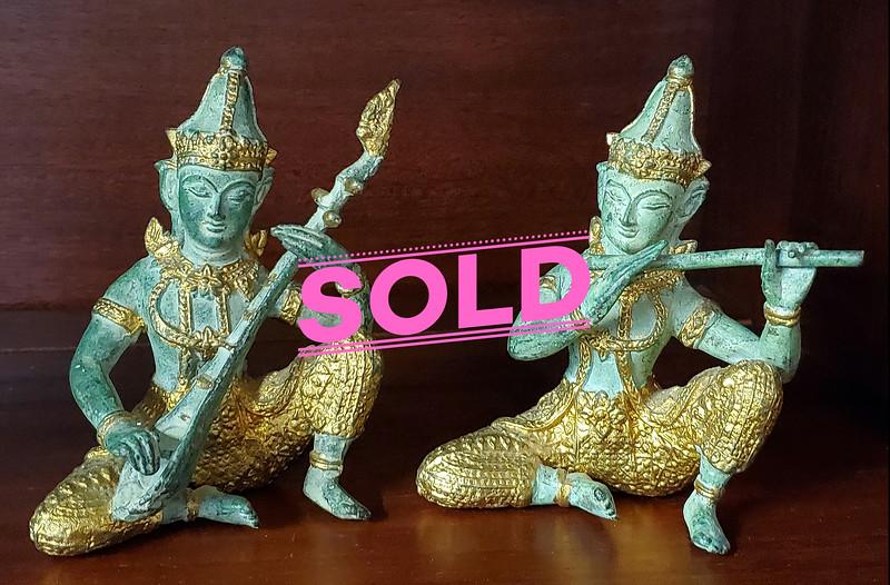 Simese Bronze Musician Figurines