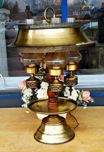 Brass Hurricane Style Table Lamp