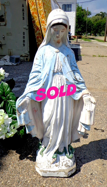 Virgin Mary Stone Statue.  16 x 33.  <b>$125</b>