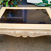 French Provincial Glass Top Coffee Table