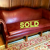 Camel Back Red Leather Settee