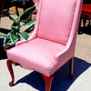 Elegant Premium Queen Anne Pink Stripe Accent Chair in Excellent Condition.  A fine home of distinction doesn't always mean that important accent pieces can't have a colorful flair.  This remarkable Queen Anne style accent chair features elegant solid wood construction and top quality upholstery with distinctive satiny stripes.  It's in excellent condition too.   21 x 26 x 42.  <b>$125</b>
