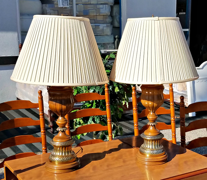 Set of 2 Solid Wood Federal Style Table Lamps with Shades in Excellent Condition.  22 x 34.  <b>$95 for the set.</b>