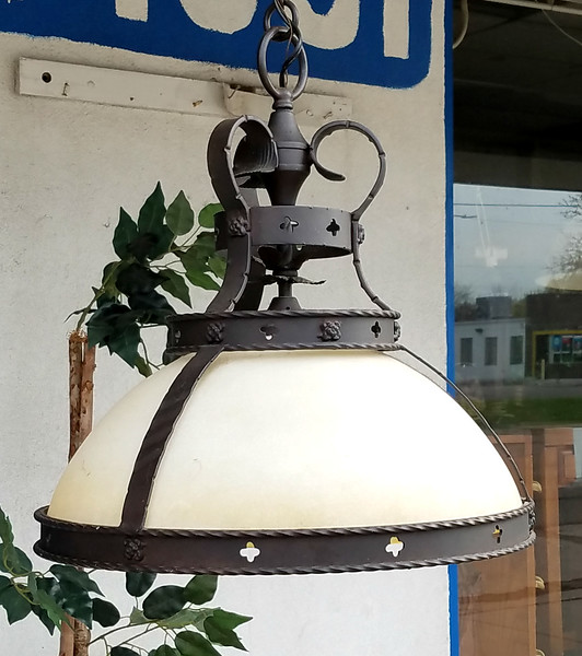Wrought Iron Frosted Glass Hanging Lights