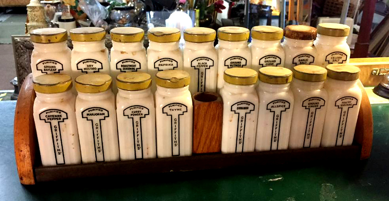 Griffith's Milk Glass Spice Jars