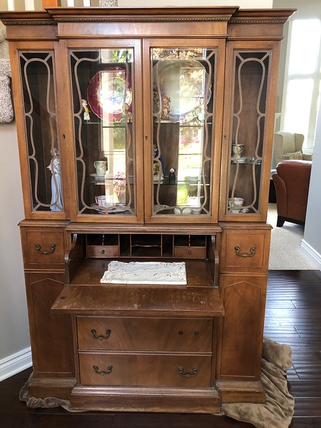 Vintage Secretary Display Cabinet