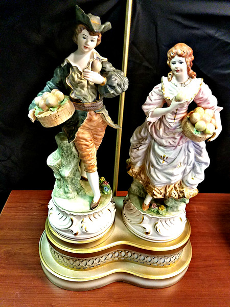 Vintage French Provincial Style Figurine Table Lamp.  <i>Lamp shade not included.  </i>18 x 11 x 37.  <b>$85</b>