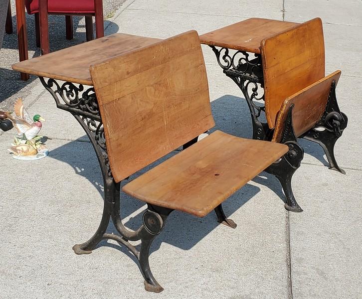 Antique Wrought Iron Student Desks