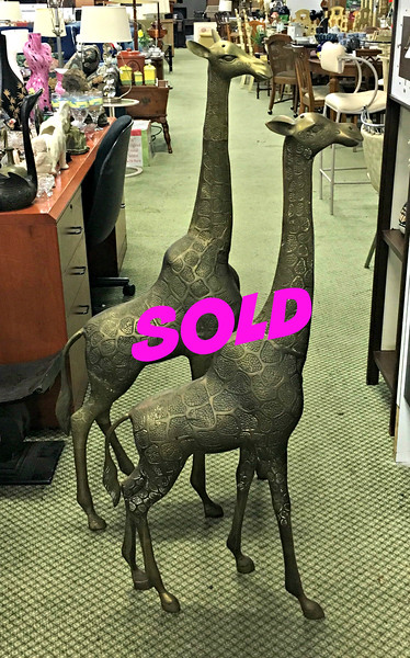 <b>Available at our Livernois Store Location - (313) 345-0884. </b>   Magnificent Tall Brass Giraffe Statues. Garden decorative brass giraffe statues.  Tall Statue: 21 x 7 x 50.  <b>Make A Fair Offer.</b>