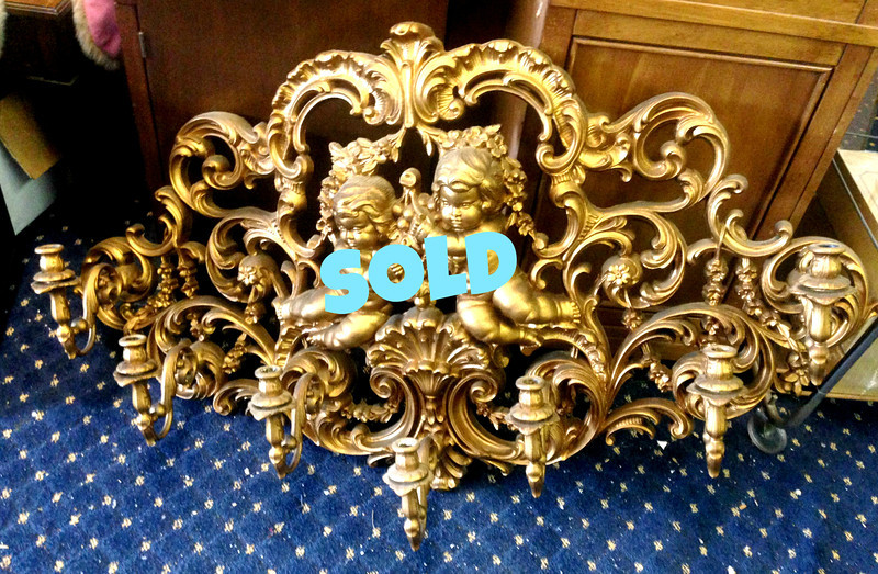 <b>Available at our Livernois Store Location - (313) 345-0884. </b>  French Provincial 7-Candle Wall Sconce.