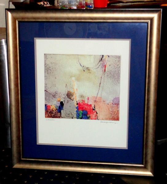 Calando by Sarajun Chang Framed Art.  Contemporary style in elegant smoke silver frame.  38 x 31.  <b>$40</b>
