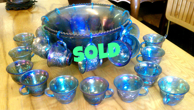 <b>Available at our Livernois Store Location - (313) 345-0884. </b>  Vintage Indiana Carnival Glass Harvest Blue Princess Punch Bowl Set.  <b>$150</b>