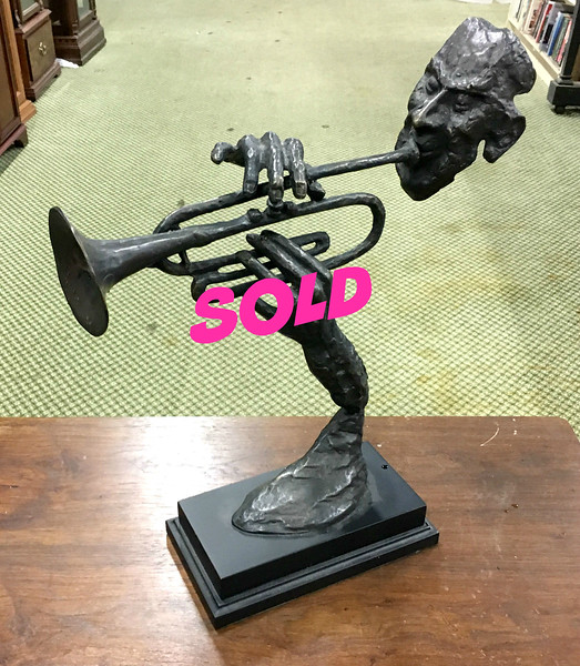 <b>Available at our Livernois Store Location - (313) 345-0884. </b> Bronze Floating Trumpet Player Sculpture.  15 x 5 x 18.