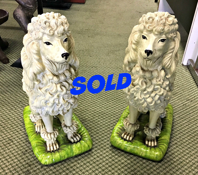 <b>Available at our Livernois Store Location - (313) 345-0884. </b> Hard-to-Find Set of 2 Distinctive Tall Vintage Composition Poodles in Very Good Condition.  Totally unique.   Search the web and try finding anything like these anywhere else.  10 x 24 x 28.
