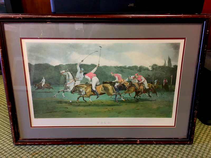 <b>Available at our Livernois Store Location - (313) 345-0884. </b>    Hard-to-Find. <i>Polo</i> - A John Charles Dollman Print by Aaron Ashly, Inc 1975. Framed in a walnut frame with some wear on frame.  This piece features eight figures on horseback playing a match of polo.  The artist signature is in the lower right corner.  <i>$200 elsewhere.</i>  <b>Fred's Price: $75.</b>