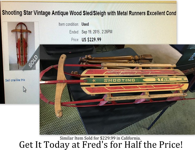 <b>Available at our Livernois Store Location - (313) 345-0884. </b> Shooting Star Vintage Wood Sled / Sleigh with Metal Runners.