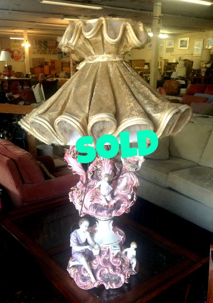 <b>Available at our Livernois Store Location - (313) 345-0884.   </b>  Cherub Adorned French Provincial Table Lamp with Shade.  <b>$95</b>