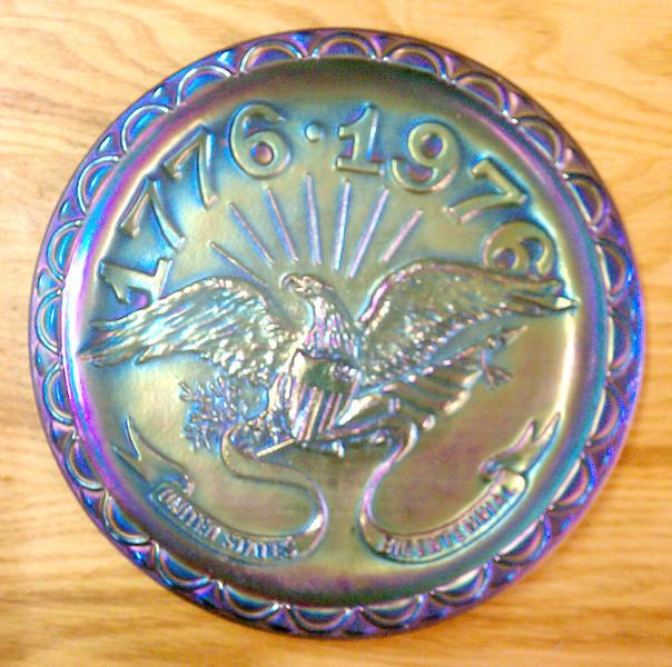 Indiana Carnival Glass Harvest Blue Bicentennial Plate.<b>$35</b>