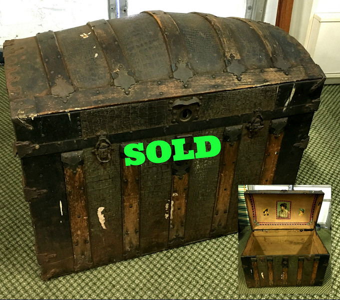 <b>Available at our Livernois Store Location - (313) 345-0884. </b>  Hard-to-Find Antique Steamer Trunk.  These unique pieces are extremely popular for clever re-purposing or as a distinctive room accent.  <b>$175</b>