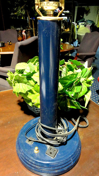 """Dark Blue Candlestick Lamp with Electric Supply Outlet. 26"""" <b>$15</b>"""