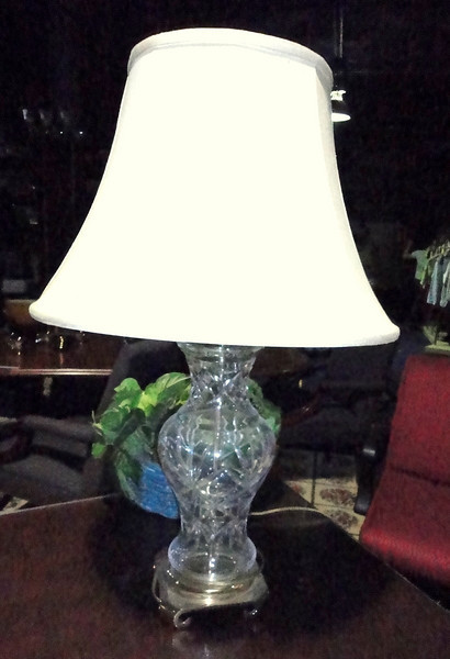 """Ornate Crystal Glass Lamp with White Shade. 28"""" <b>$55 </b>"""