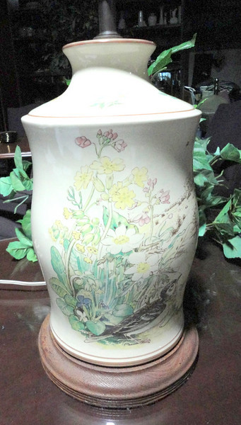 """Painted Floral Garden on Ivory White Lamp. 27"""" <b>$40</b>"""
