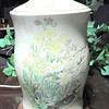 "Painted Floral Garden on Ivory White Lamp. 27"" <b>$40</b>"