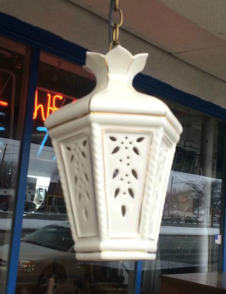 Unique 14-Inch Porcelain Hanging Lamp