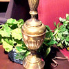 "Tall Brass Lamp with Pine Pattern Stem. 31"" <b>$35</b>"