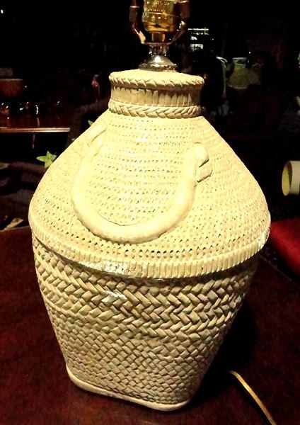 "Cream Colored Basket Weave Lamp. 28"" <b>$65</b>"