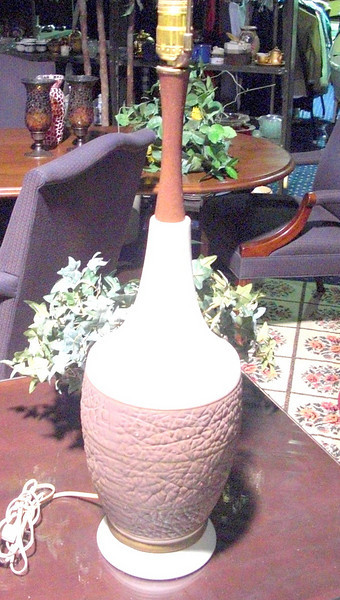 "Raspberry and Peach Cork Patterned Lamp with Wood Accents. 32"" <b>$40 </b>"