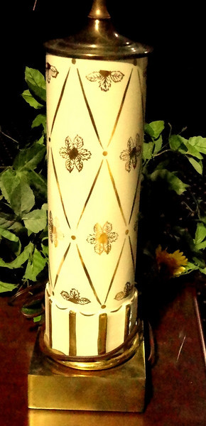 Beige Cylinder Lamp with Gold Floral Accents & Brass Base.  <b>$40</b>