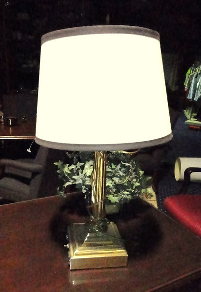 """Brass Lamp with Solid Square Base with Trimmed Shade. 24"""" <b>$30</b>"""