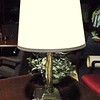 "Brass Lamp with Solid Square Base with Trimmed Shade. 24"" <b>$30</b>"