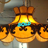 Unique Ultra-Premium Stained Glass Overhead Light. Why settle for ordinary lighting when an exceptional one-of-a-kind stained glass hanging light can be yours for a fraction of the retail price?  This painstakingly crafted light would look great in even the finest home.  Must see to truly appreciate.   24 x 17.   <b></b>