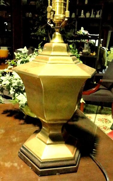 "Brushed Brass Table Lamp.  27"" <b>$40</b>"