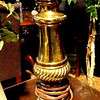 Brass Table Lamp with Cream Neck.  7 x 29.  <b>$35</b>