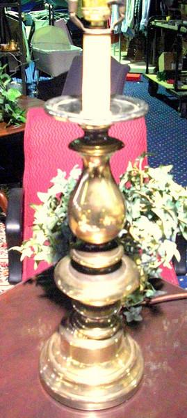 """Tall Brass Lamp. 32"""" <b>$40 </b>"""