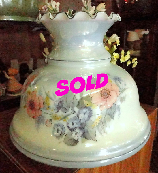 Elegant Glass Floral Design Hurricane Lamp Shade.  13 x 12.   <b>$40</b>