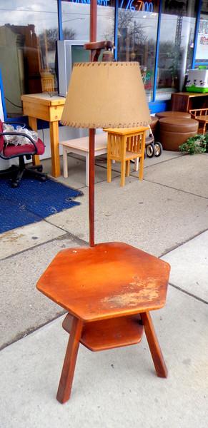 Rare <i>Cushman Colonial</i> Two-Shelf Solid Maple Lamp Table.  20 x 20 x 60.  <b>$95</b>