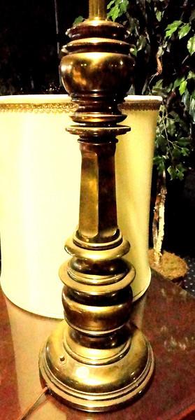 Tall Brass Lamp with Shade.  16 x 38.  <b>$45</b>