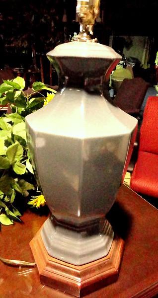 "Gray Ceramic Lamp with Wood Base. 28"" <b>$25</b>"