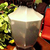 "Gray Ceramic Lamp with Wood Base. 28"" <b>$25</b>"