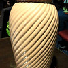 "Mauve Ceramic Lamp with Grooved Swirls.  27""  <b>$35</b>"