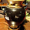 "Deep Green Table Lamp with Upper & Lower Brass Accents.  24"" <b>$30</b>"